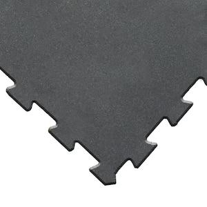 ReUz 0.24 in. T x 1.6 ft. W x 1.6 ft. L Black Rubber Flooring Tiles (44 sq. ft.) (16-Pack)