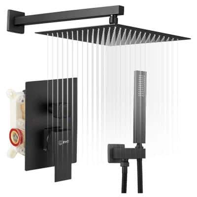 Rainfall 2-Handle 2-Spray 12 in. Square High Pressure Shower Faucet in Matte Black (Valve Included)