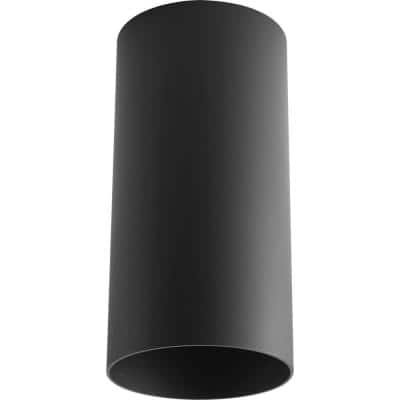 "Cylinder Collection 6"" Black Modern Outdoor Ceiling Light"