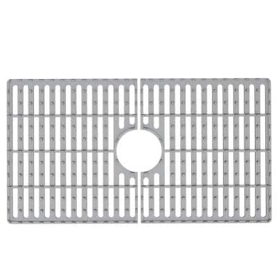 27 in. x 15 in. Silicone Bottom Grid for 30 in. Single Bowl Composite Kitchen Sink in Gray