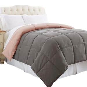 Genoa 1-Piece Gray and Pink Solid Microfiber King Size Box Quilted Reversible Comforter