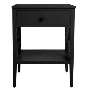 Oakley Rectangular Black Wood 1 Drawer End Table with X Side Detail (18 in. W x 24 in. H)
