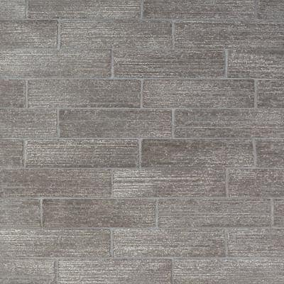 Rhythmic Stroke Matte Gray 2 in. x 9 in. Glazed Clay Subway Wall Tile (4.63 sq. ft./Case)