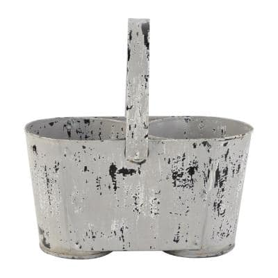 12 in. White Metal Vintage Planter