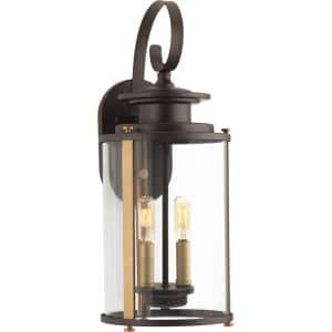 Squire Collection 2-Light Antique Bronze Clear Glass New Traditional Outdoor Medium Wall Lantern Light