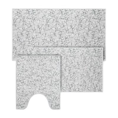 Off-White Color Geometric Scratches Design Cotton Non-Slip Washable Thin 3 Piece Bathroom Rugs Sets