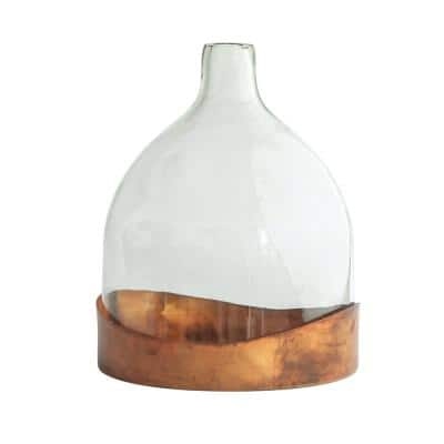 Clear Decorative Glass Cloche with Metal Tray
