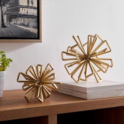 8.625 in. Geometric Gold Starburst Sculpture (Set of 2)