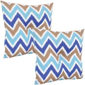 19 in. x 19 in. Light Blue Chevron Bliss Outdoor Tufted Back Throw Pillow Cushions (2-Pack)