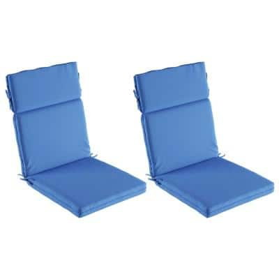 21.5 in. W x 25.5 in. H High Back Dining Chair Cushion Stain and Mildew Resistant in Blue (Set of 2)