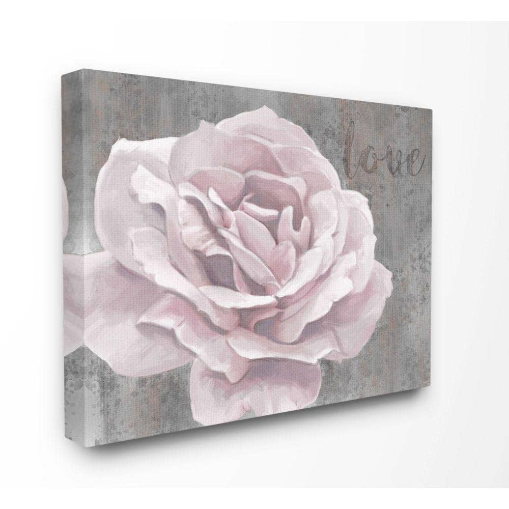 Stupell Industries Love Flower Pink Grey Texture Painting By Ziwei Li Canvas Abstract Wall Art 30 In X 24 In Fap 155 Cn 24x30 The Home Depot