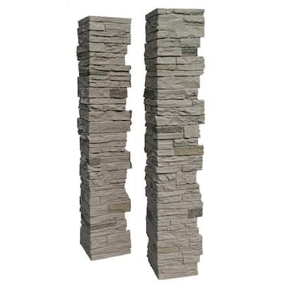 Slatestone Sahara 8 in. x 8 in. x 41 in. Faux Polyurethane Stone 2pc Post Cover