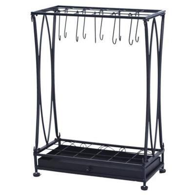 Black Iron Umbrella Stand with Removable Base Drip Tray