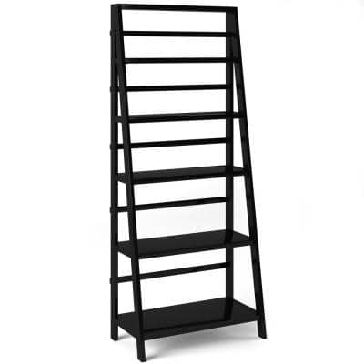 Acadian 72 in. H Black Wooden 5 - -Shelf Accent Bookcase