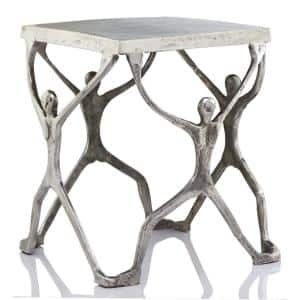Rosemary 18 in. Buffed, Man Figure End Table