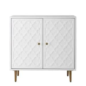 Pattern High gloss 2 Door with stainless steel brushed Golden leg white Accent cabinet
