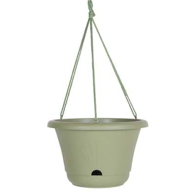 Lucca 13 in. Living Green Plastic Self-Watering Hanging Basket Planter