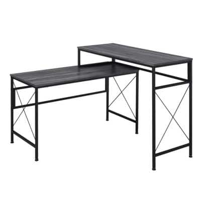 Domino Gray L-Shaped Writing Desk With USB Ports