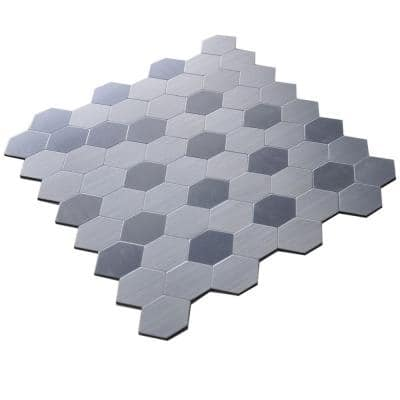 Honeycomb 12 in. x 12 in. x 5 mm Peel and Stick Brushed Stainless Metal Mosaic Tile