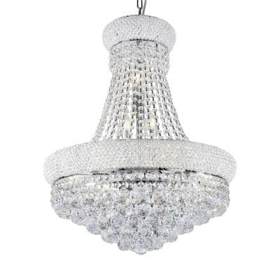12-Light Crystal 26 in. Adagio Empire LED Chandelier Ceiling Lamp