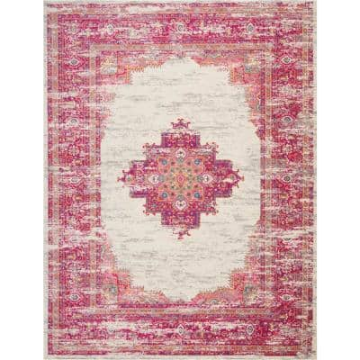 Passion Ivory/Fuchsia 9 ft. x 12 ft. Persian Vintage Area Rug