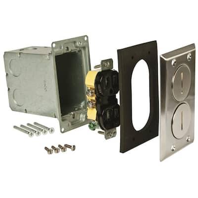 1-Gang Nickel Retangular Floor Box Kit includes 15A 125V TR Receptacle