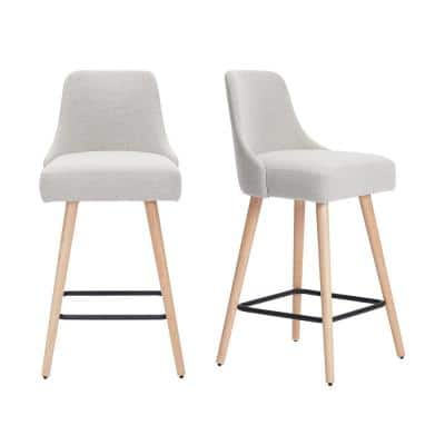 Benfield Natural Finish Upholstered Bar Stool with Back and Biscuit Beige Seat (Set of 2) (19.68 in. W x 41.73 in. H)