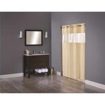 Vision 71 in. x 74 in. Beige Shower Curtain with Clear Vinyl Window