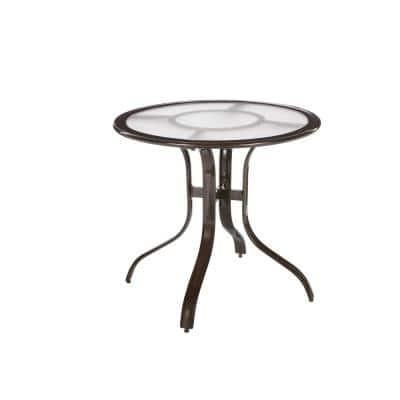 30 in. Commercial Aluminum Round Outdoor Patio Acrylic Top Bistro Table in Brown