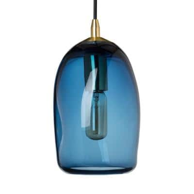 6 in. W x 9 in. H 1-Light Brass Organic Contemporary Hand Blown Glass Pendant Light with Blue Glass Shade