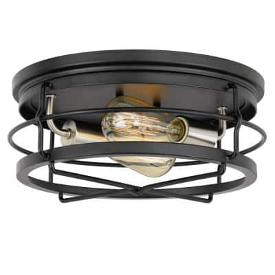 Westwood 13.88 in. x 13.88 in. x 5.87 in. 2-Light Black Frame with Brushed Nickel Socket Flush Mount