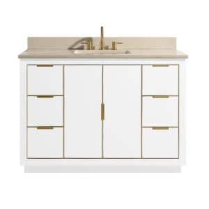 Austen 49 in. W x 22 in. D Bath Vanity in White with Gold Trim with Marble Vanity Top in Crema Marfil with White Basin