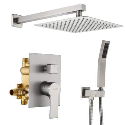 1-Spray Patterns with 2.66 GPM 10 in. Wall Mount Dual Shower Heads with Rough-In Valve Body and Trim in Brushed Nickel