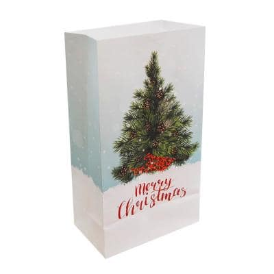 Paper Luminaria Bags Candle Holder Christmas Tree (24-Count)