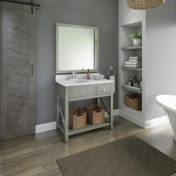 Twin Star Home 36 In W X 20 In D Open Bath Vanity With Baskets In Gray With Marble Top In White With White Basin 36bv589 Pg21 The Home Depot