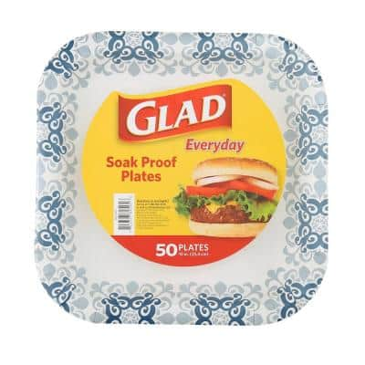 10 in. Square Paper Plates - Blue Victorian (50-Count)