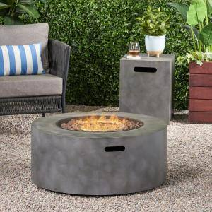 Wellington 15.25 in. x 19.75 in. Round Concrete Propane Fire Pit in Dark Grey with Tank Holder