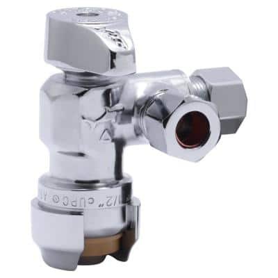 1/2 in. Push-to-Connect x 3/8 in. O.D. Compression x 3/8 in. O.D. Compression Dual Stop Quarter-Turn Angle Stop Valve