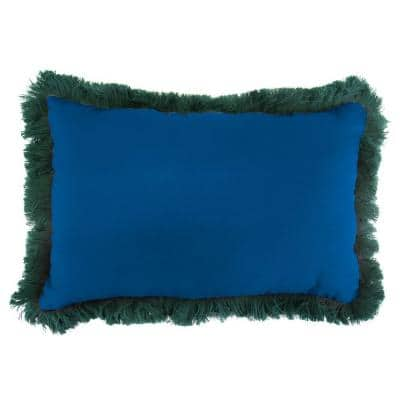 Sunbrella 19 in. x 12 in. Canvas Navy Lumbar Outdoor Throw Pillow with Forest Green Fringe