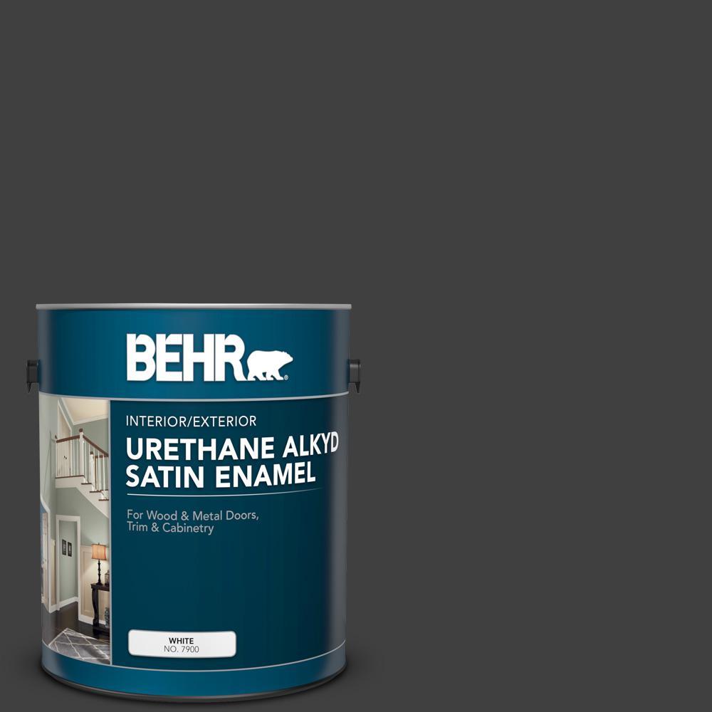 1 gal. #1350 Ultra Pure Black Urethane Alkyd Satin Enamel Interior/Exterior Paint