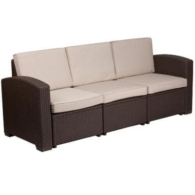 Brown Wood Outdoor Couch