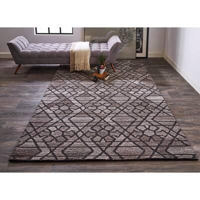 Palatez Light Gray/Black 10 ft. x 14 ft. Geometric Wool Area Rug