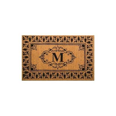 Welcome 36 in. x 72 in. Indoor/Outdoor Monogrammed Letter M Door Mat