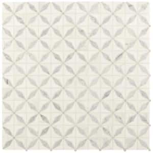 Bianco Starlite 12 in. x 12 in. x 10 mm Polished Marble Mesh-Mounted Mosaic Tile (10 sq. ft. / Case)