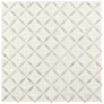 Starlite 12 in x 12 in. x 8mm Polished Marble Mesh-Mounted Mosaic Tile (1 sq. ft.)