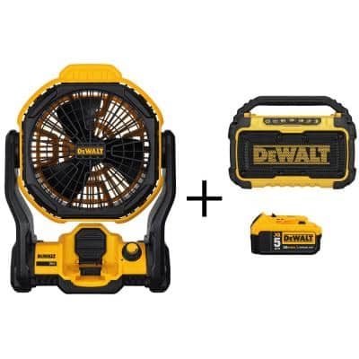20-Volt MAX Cordless and Corded 11 in. Jobsite Fan, (1) 20-Volt 5.0Ah Battery & Bluetooth Speaker