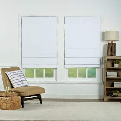 White Cordless Blackout Energy-Efficient Cotton Roman Shades 58 in. W x 72 in. L