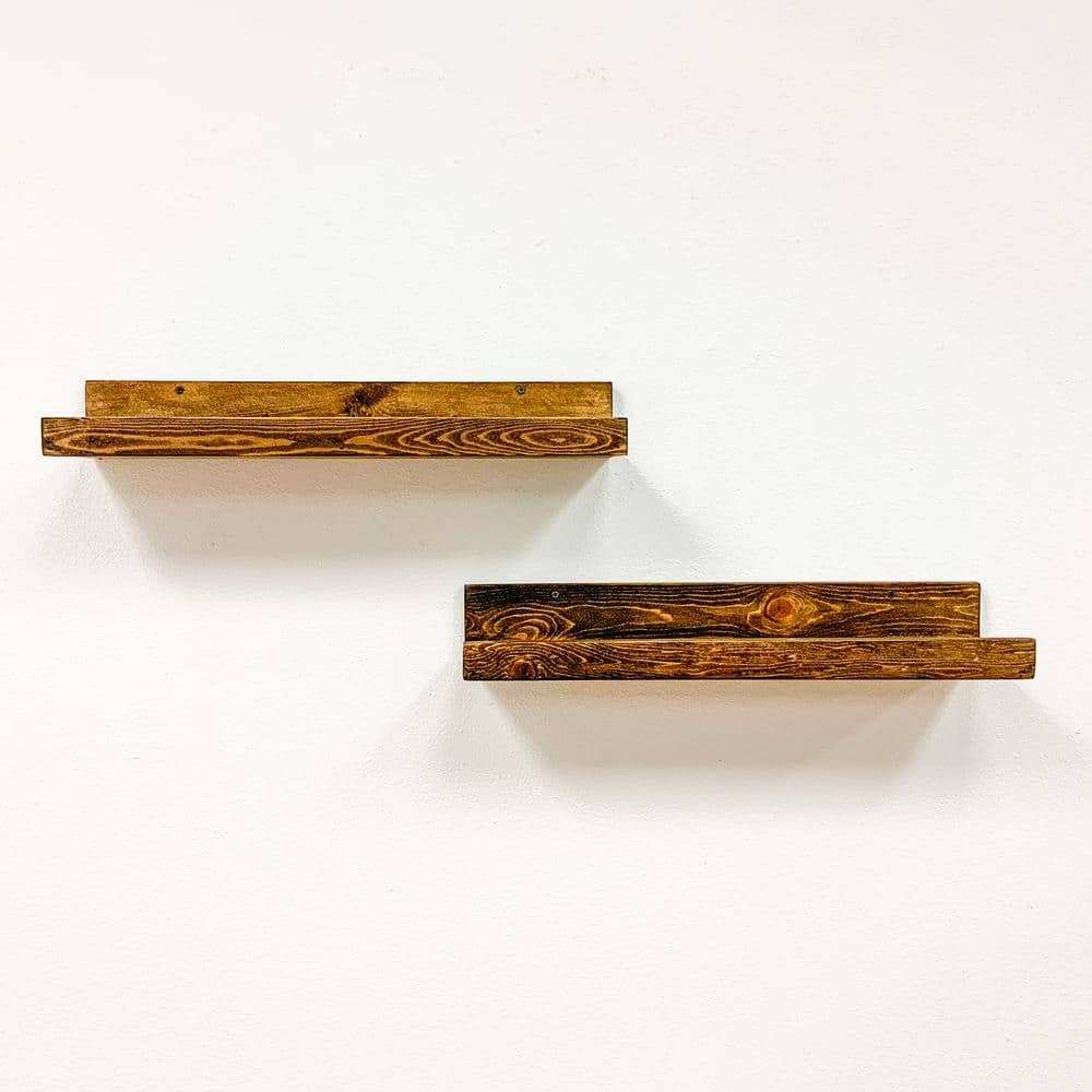 Del Hutson Designs Rustic Luxe 7 in. x 24 in. Dark Walnut Pine Floating Decorative Wall Shelves