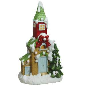 21.25 in. Christmas Morning Pre-Lit LED Snow Covered Church Decorative Christmas Tabletop Figure