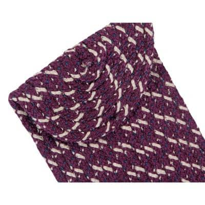 Country Braid Collection Durable Stain Resistant Reversible Burgundy 9 in. x 29 in. Oval Striped Polypropylene Area Rug
